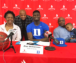 Zion Williamson signs to play basketball for Duke University